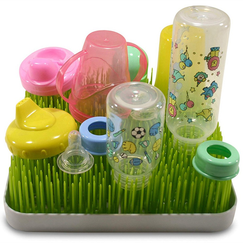 Single Pack Baby Bottle Countertop Drying Rack Drainer Mat For Infant Bottles Dishes Imitation Lawn Container Shelf
