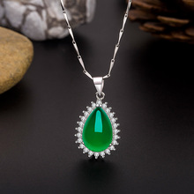 Natural Green Chalcedony Water Drop Jade Pendant 925 Silver Necklace Chinese Carved Fashion Charm Jewelry Amulet for Women Gifts natural green jade pendant dragon phoenix 925 silver necklace chinese carved fashion charm jewelry amulet for men women gifts