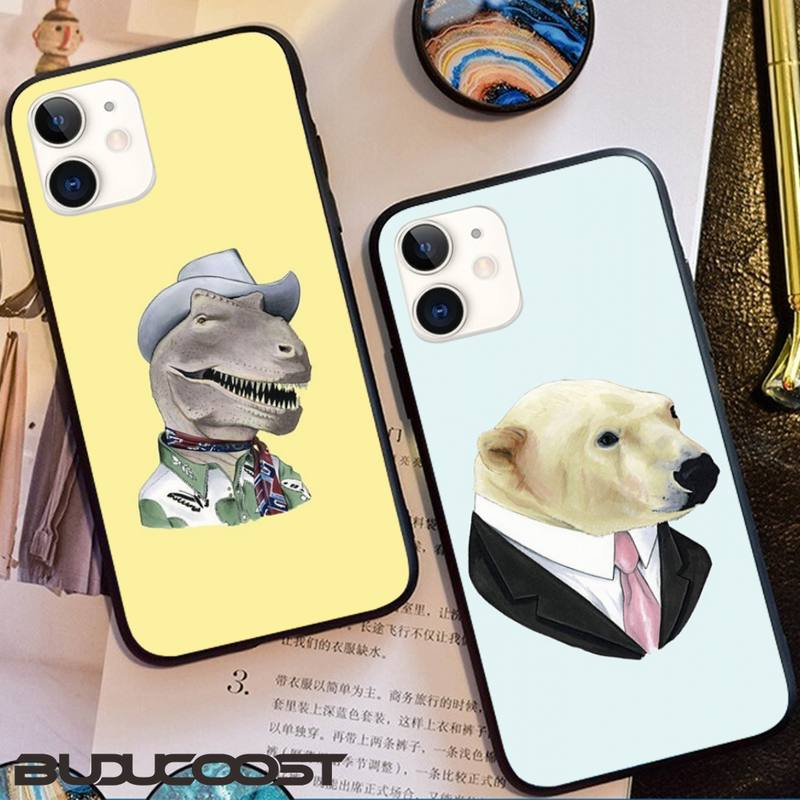 Cute Animal Dress Up Painted Phone Case For Iphone 11 Pro 11 Pro Max X XR XS MAX 7 8 Plus 6s Plus 5s 2020 Se Cover