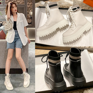 Boots Martin Female British Style 2020 New Ins Tide Wild Mid-tube Boots Thick Heel Motorcycle Boots Thin Thin Boots Socks Boots