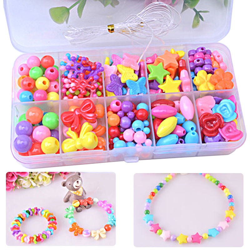 Beads Toys For Children DIY Hand-made Necklaces Bracelets Girl Kids Toddler Beaded Puzzles Educational Toy