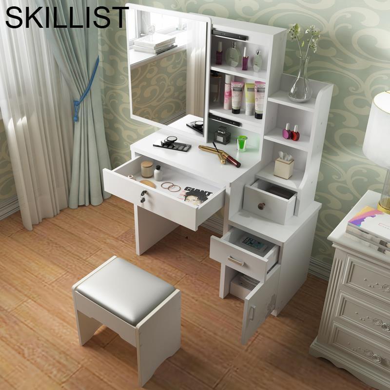 Mesa de maquillaje quarto de mesa de móveis de quarto armário de madeira