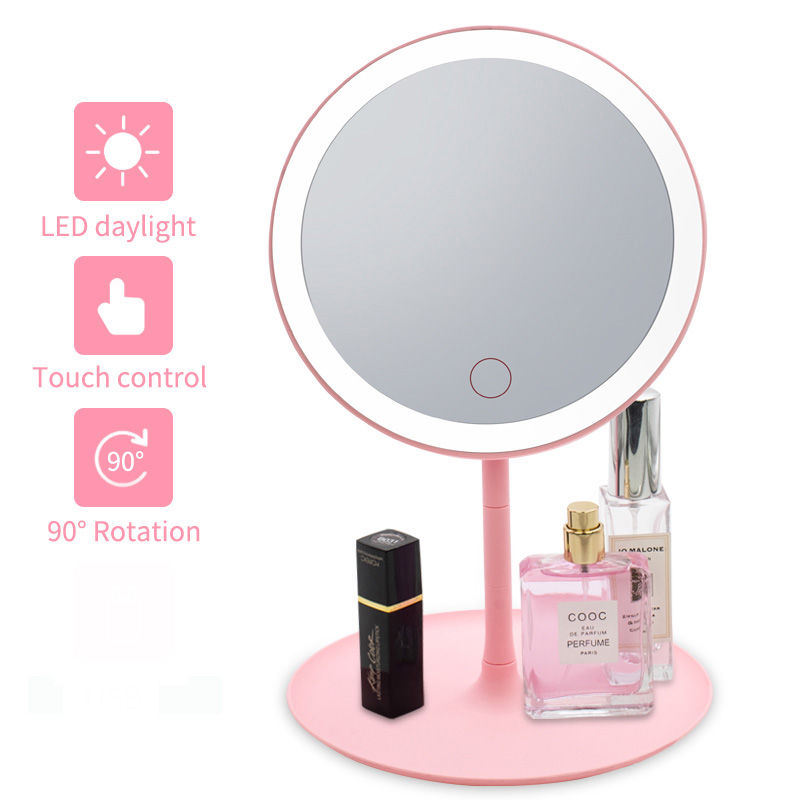 LED  Makeup Mirror With Led Light Vanity Mirror Light Dormitory  Folding Portable Beauty Desktop  VIPdrop Shipping