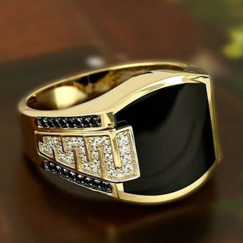 Silvery Black Square Rings for Women Crystal Unisex Couple Ring