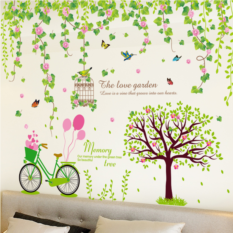 [SHIJUEHEZI] Flower Vine Wall Stickers DIY Bicycle Tree Wall Decals for Living Room Bedroom Nursery Home Decoration Vignette