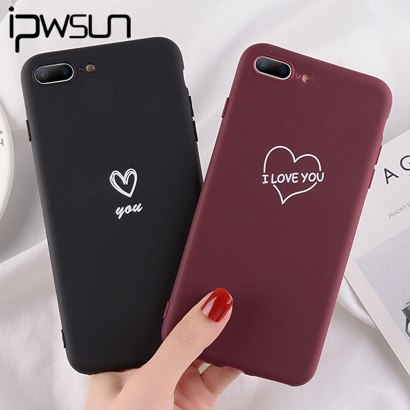 IPWSOO Couple Candy Color Love Heart Phone Case For IPhone 11 Pro X XR Xs Max Soft TPU Cover For IPhone 5 5S SE 6 6s 7 8 Plus