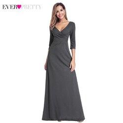 Длинное вечернее платье Ever Pretty EP00935DY, элегантные платья для вечеринки с глубоким вырезом, рукавом 3/4 и рюшами