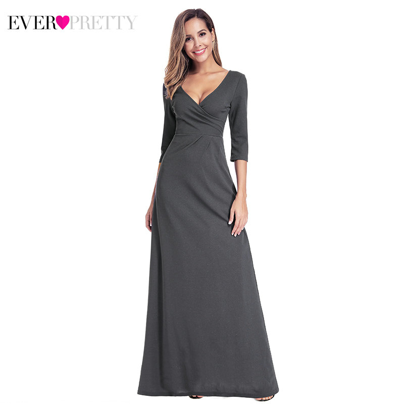 Simple Deep Grey Prom Dresses Ever Pretty EP00935DY Straight Deep V-Neck Ruched 3/4 Sleeve Elegant Party Gowns Vestido De Festa