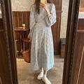 Женское платье с длинным рукавом-фонариком, круглым вырезом