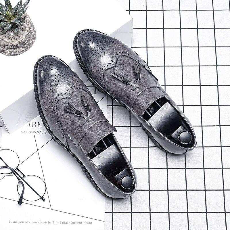 Big Size Italian Tassel Business Formal Dress Men Leather Loafer Formal Dress Flats Designer Office Oxford Shoes For Men 2019