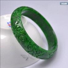 Натуральный ручной работы 5A изумруд ручной резной узор цветок браслет нефрит зеленый браслеты для женщин браслет