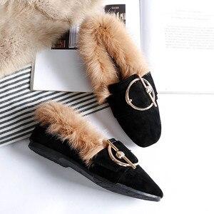 Image 3 - BEYARNE2019 new fashion rabbit fur flat shoes flip plus velvet casual shoes Europe and large womens shoesE1104
