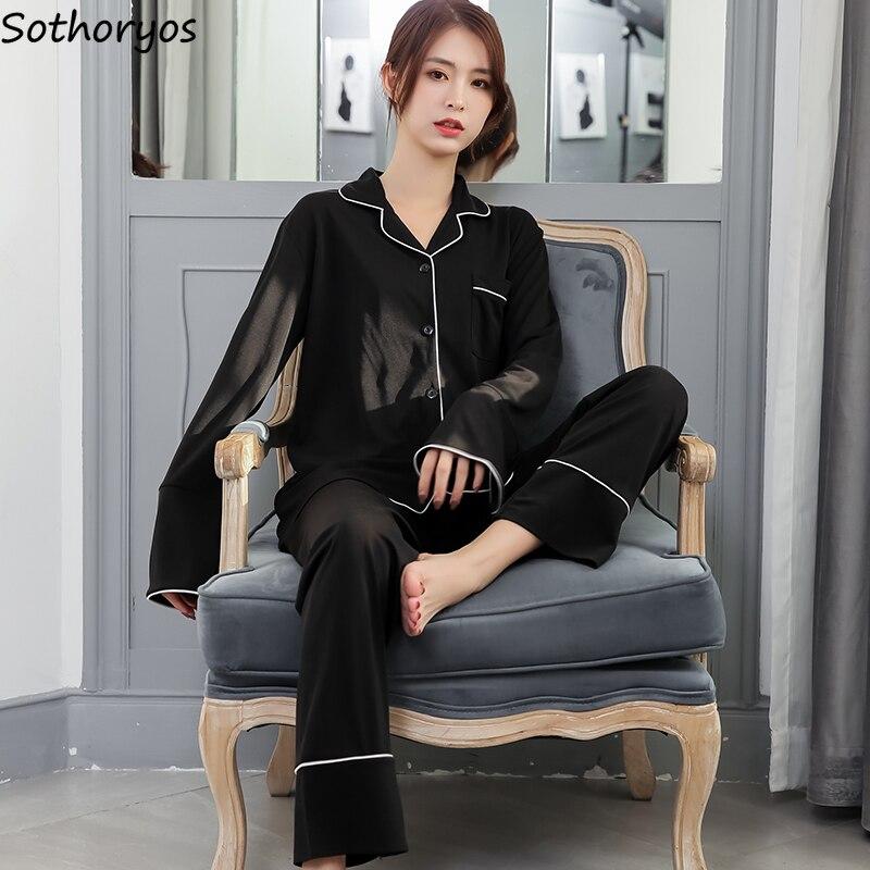 Pajama Sets Women Simple Solid Turn-down Collar Chiffon Thin Loose Long Sleeve Womens Korean Style Elegant Home Clothing Soft