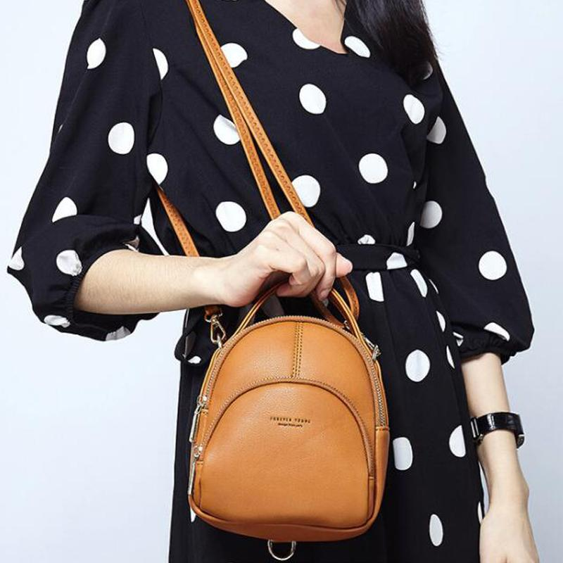 Small Fashion Women Backpack Multifunction Two-use Shoulder Bag Soft Candy Female Bags