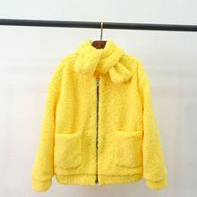 2019 Autumn Winter New Large Coat Parody Grass Collar detachable Loose Plush