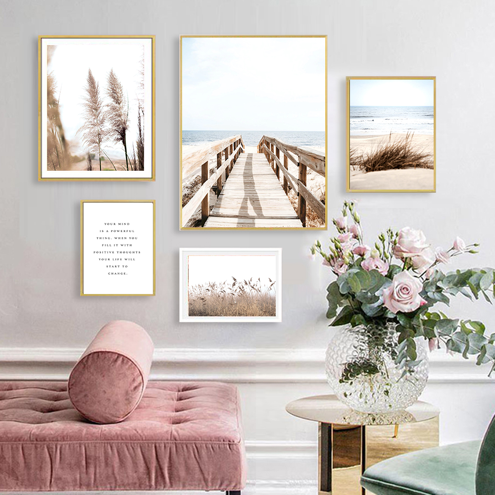 Home Lake Beach Wall Art Bridge Canvas Painting Reed Nordic Nature Poster and Print Calm Wall Picture for Living Room Wall Decor