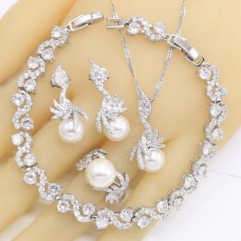 White Pearl 925 Silver Wedding Jewelry Set Jewelry Pearl Jewelry