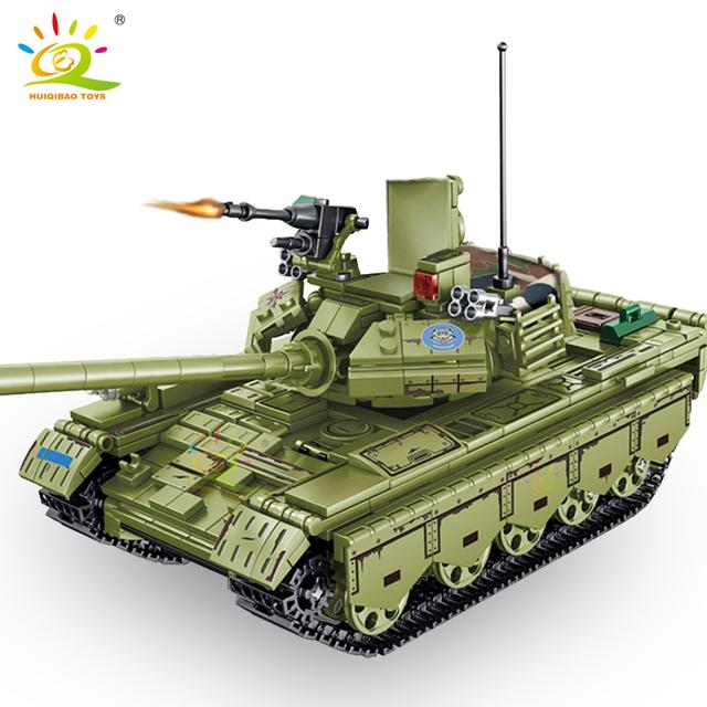 HUIQIBAO 812pcs WW2 59 Medium Tank Building Blocks Army 3 Soldier Military weapon Model Bricks Construction Toys for children