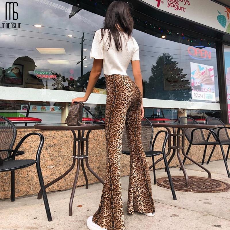 Manoswe Women Leopard Print Flare Leggings High Waist Wide Leg 2019 Sexy Fashion Plus Size XXL Casual Pants Autumn Full Length
