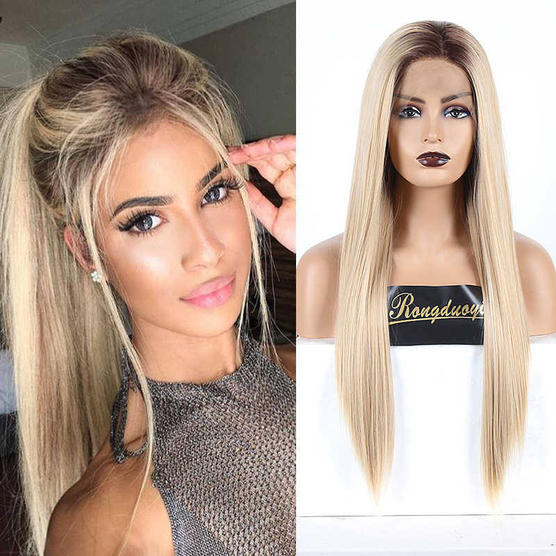 RONGDUOYI Long Silk Straight Synthetic Lace Front Wig High Temperature Ombre Blonde Lace Wigs for Women Two Tone Blonded Wig