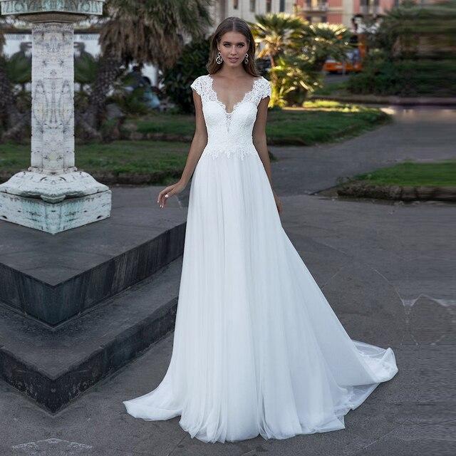 Bohemian Wedding Dress V-Neck Cap Sleeve A Line Boho Simple Bridal Gowns vestido de noiva 2020 Elegant Plus Size Bride Dresses