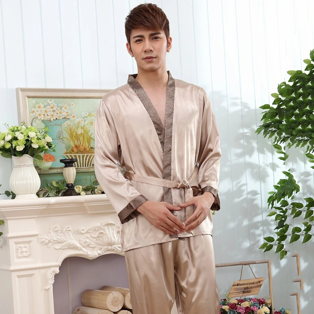 Rayon Satin Men Pajama Pyjama Set Spring Summer Shirt&Pants 2PCS Sleepwear Silky Home Clothes Oversize 3XL Male Nightwear