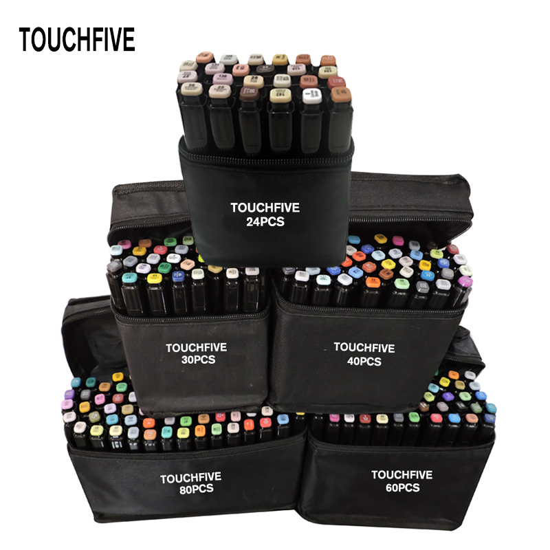 TouchFIVE 24/30/40/60/80/168lot Markers Hand Painted Manga Drawing Markers Pen Alcohol Based Sketch Oily Twin Brush Pen Bookmark 1