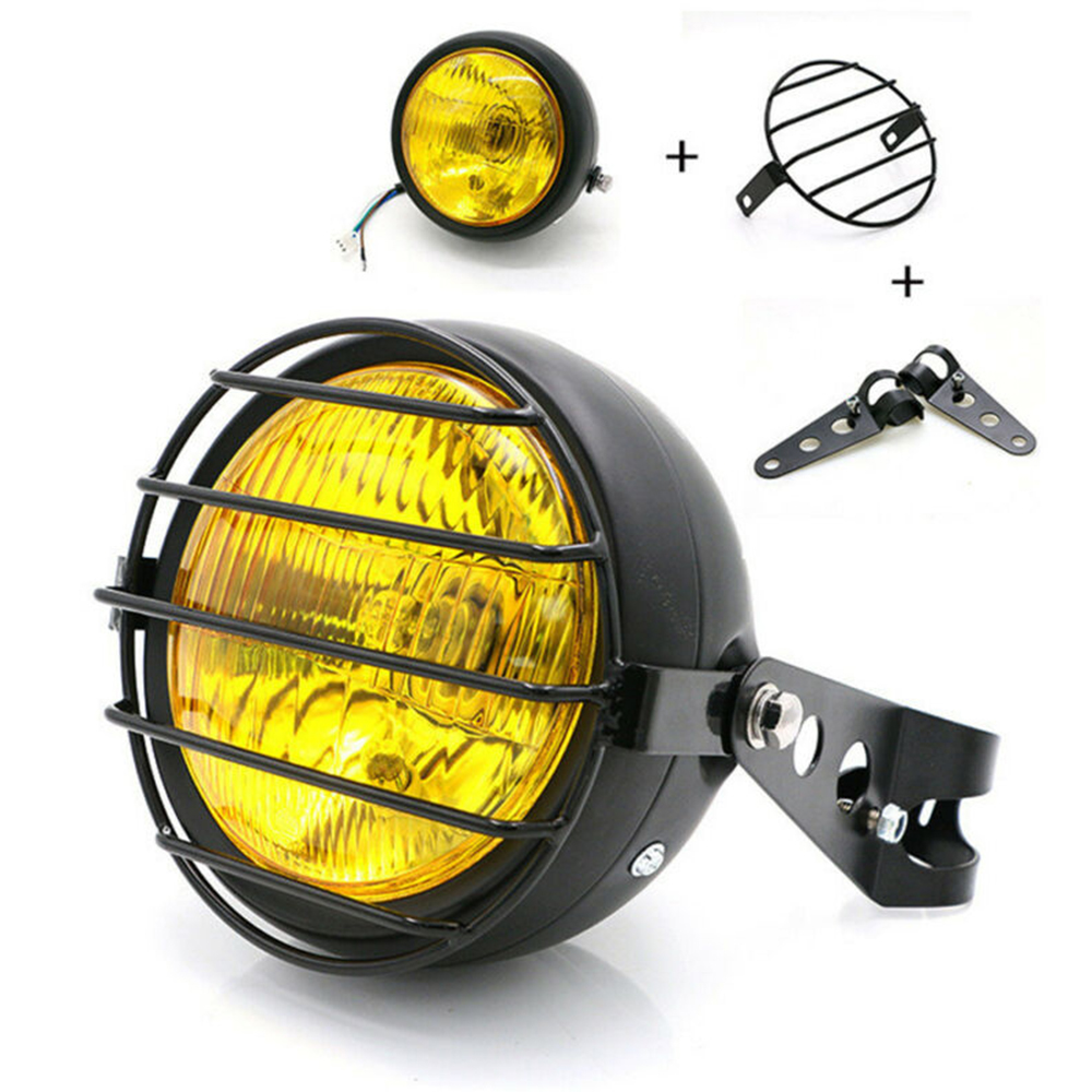 8pcs/set Motorcycle Headlight Grill Side Mount Cover W/ Bracket Cafe Racer 6.5 Inch Retro Motorcycle LED Lights Accessories