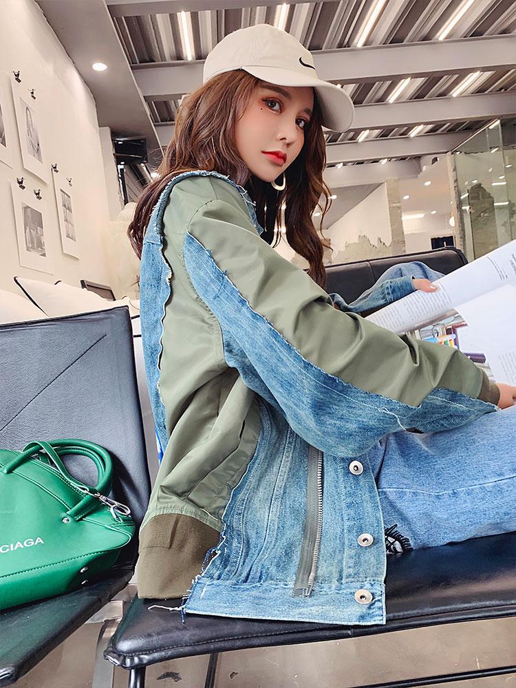 Meninas Patchwork Irregular Denim Jacket Moda Feminina Zipper Manga Comprida Carga Calça Jeans Streetwear Outwear Mulheres Casuais Jaquetas - 4