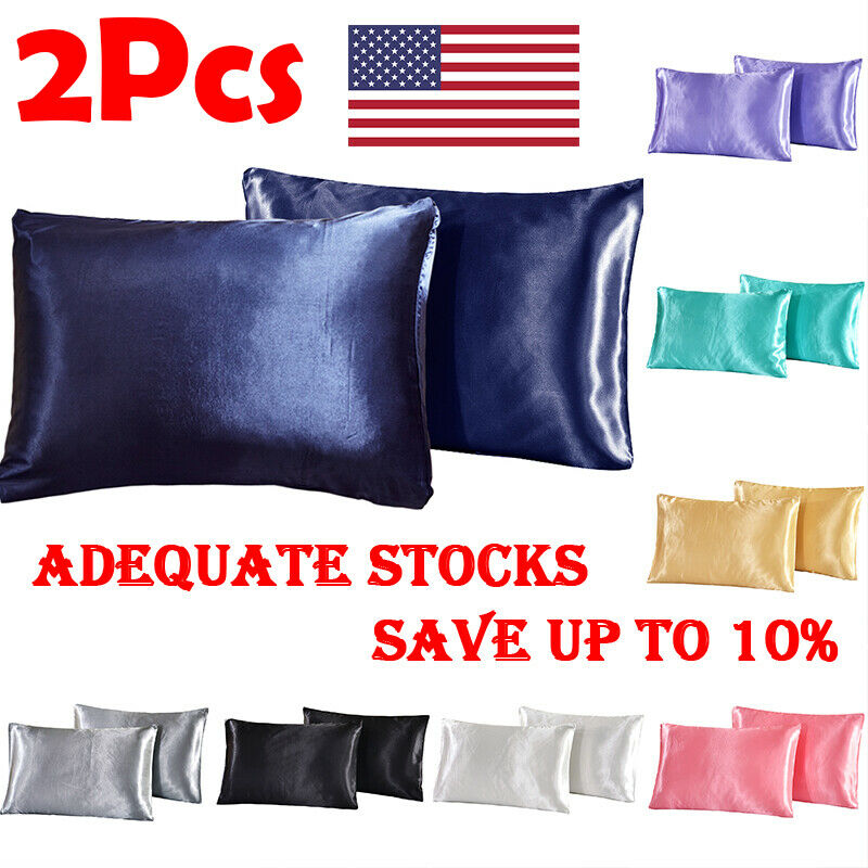 2020 Newest 2× Soft Mulberry Silk Satin Pillow Case Bedding Solid Color Pillowcase Smooth Home Cover Chair Seat Decor 8 Colors