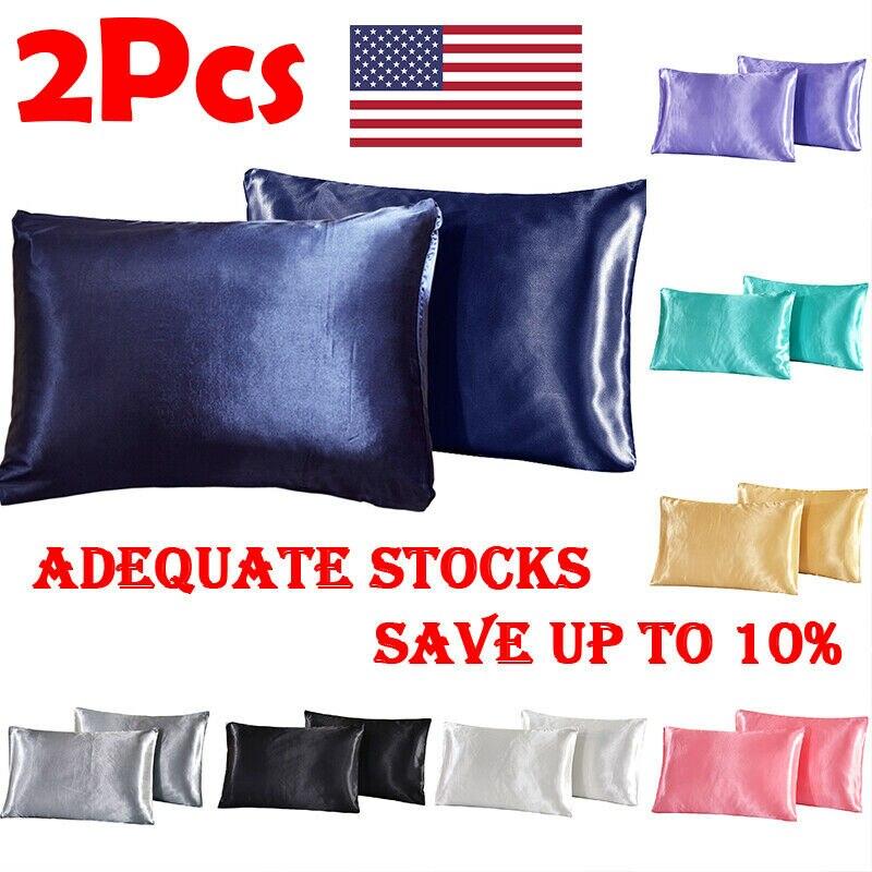2020 más nuevo 2× funda de almohada de satén de seda de morera suave funda de almohada de Color sólido funda de almohada de hogar suave decoración de asiento de silla 8 colores