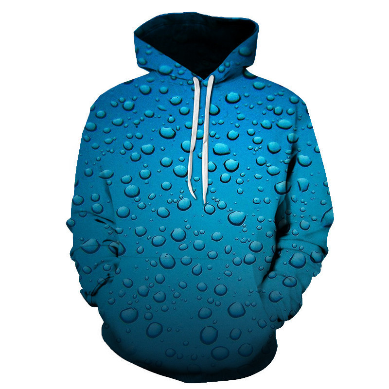 2019 3D Printed Fun Nature Rain/dew Drops Blue Hoodies For Mens And Women Fall Fashion Casual Streetwear Hooded Homme