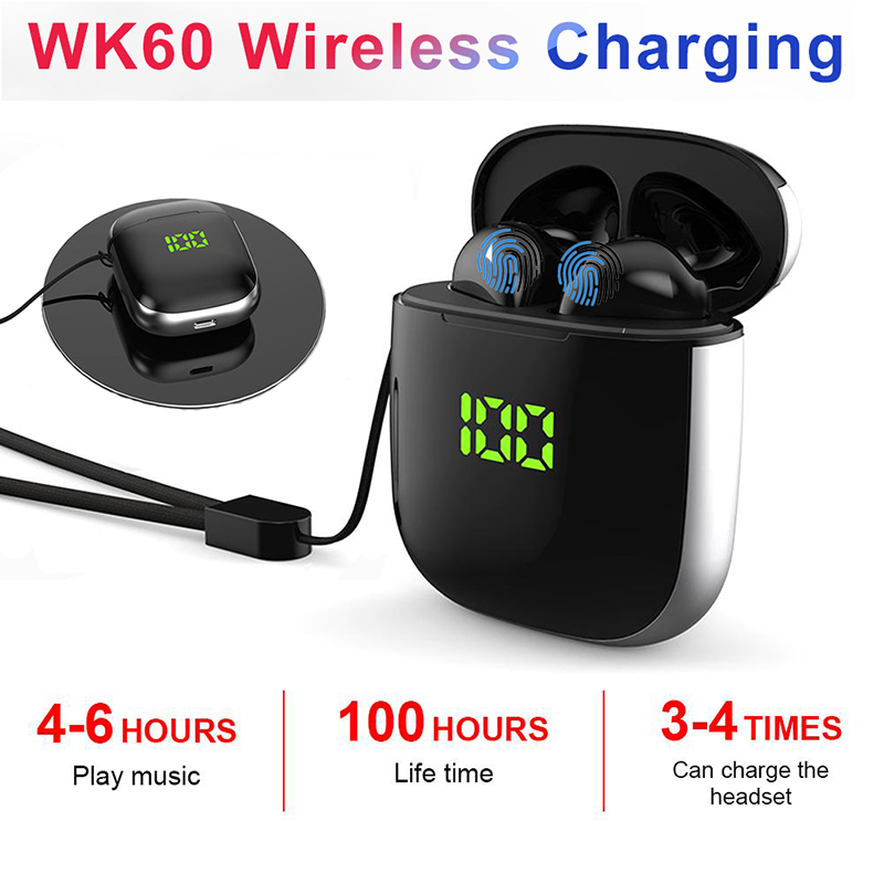 Original WK60 TWS Bluetooth Earphone Pop-up Windows Wireless Sport Headphone 5D Stereo Headsets LED Display with Charging Box image