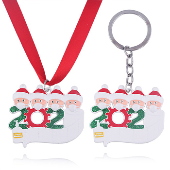 2020 Quarantine Christmas Tree Decoration Keychains Santa Claus with Mask Hanging Ornament Toilet Paper Accessories Family Party image