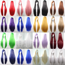 21 Colors Anime Long Straight Synthetic Wigs With Bangs Cosplay Accessories