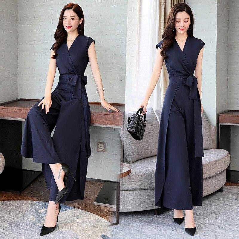 2019 Summer V-neck Trend Of Fashion Solid Color Slimming Slim Fit Versatile Short Sleeve Lace-up Set