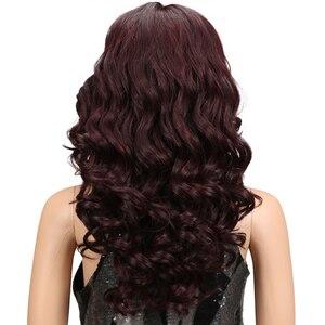 """Image 4 - M 20 """"นิ้ว Ombre GOLD Dark สีแดงวิกผมหยักยาวคอสเพลย์วิกผมลูกไม้ด้านหน้าลูกไม้วิกผมสำหรับผู้หญิงสีดำหลวม WAVE Wigs"""