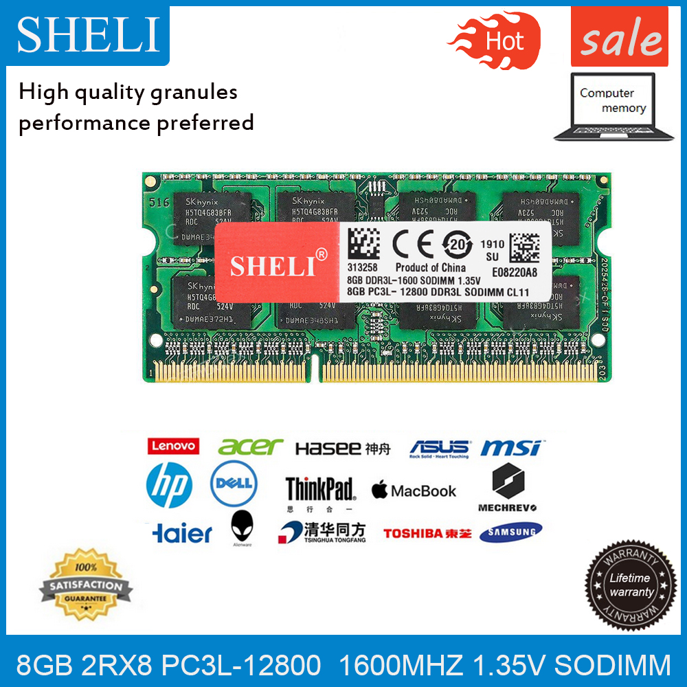 SHELI 8 GB 16 GB PC3L-12800S CL11 <font><b>DDR3</b></font>-1600 MHz <font><b>RAM</b></font> 1,35 v 204pin <font><b>Laptop</b></font> Sodimm Speicher Modul image