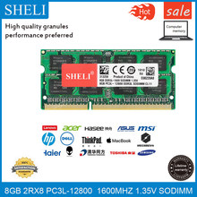 SHELI 8 GB GB PC3L-12800S 16 CL11 DDR3-1600 MHz RAM 1.35 v Laptop Módulo de Memória Sodimm 204pin