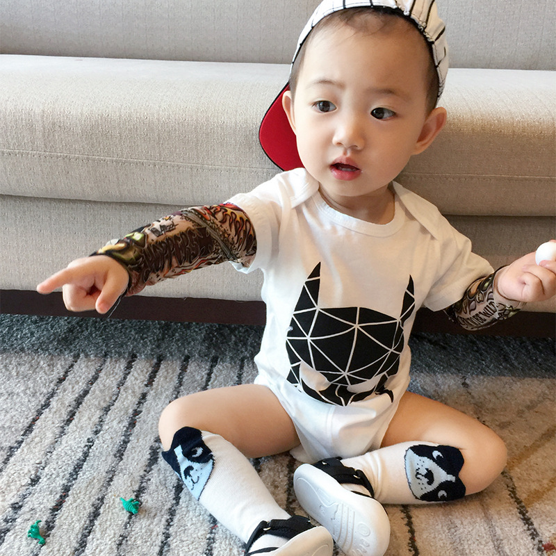 New Born Baby Tattoo   Romper   Long Sleeve Newborn Boys Spring Autumn Winter Cotton Infant Robes Punk Rock Onesies Outfits Jumpsuit
