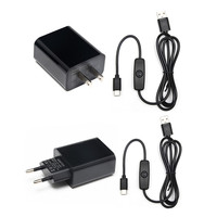 New 5V 3A Raspberry Pi Power Adapter with ON/OFF Switch EU US USB Charger for Raspberry Pi 4 Model B 3B 3B+