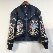 2019Fall/winter womens Brand new high quality floral embroidery jackets Chic women tassels baseball Coat A950