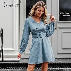 Image 1 - Simplee Sexy scollo a v a righe donne del vestito casual manica lunga cinghia di modo blu Una Linea di abito femminile Autunno inverno ufficio mini vestito