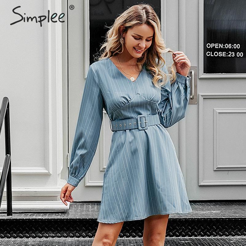 Simplee Sexy v-neck striped women dress Casual long sleeve fashion belt blue A-line female dress Autumn winter office mini dress