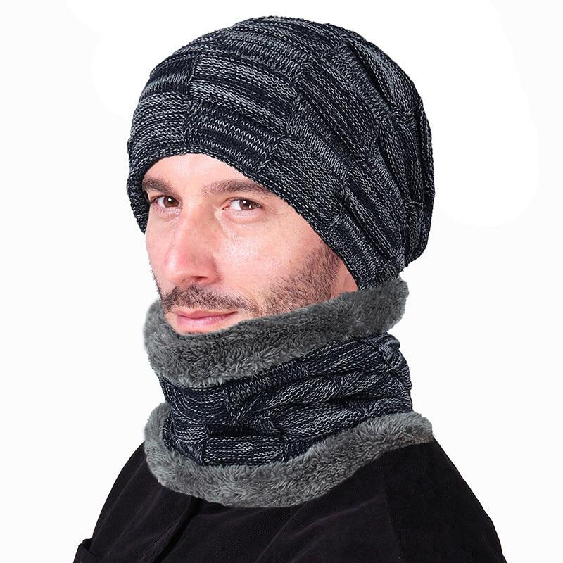 Plaid Design Plus Velvet Hat And Scarf Set For Unisex Winter Warm Acrylic Knit Beanie Scarfs Fashion Outdoor Bonnet Echarpe