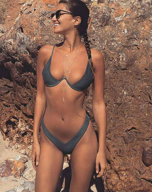 2020 New high cut thong bathing suit high waist swimsuit Solid swimwear women Brazilian Biquini swim beach micro bikini set