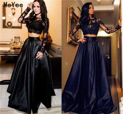 Two Pieces Long Sleeve Evening Dresses 2020 Jewel Top Lace Long Satin Special Occasion Gowns Formal Prom Party Dress Custom