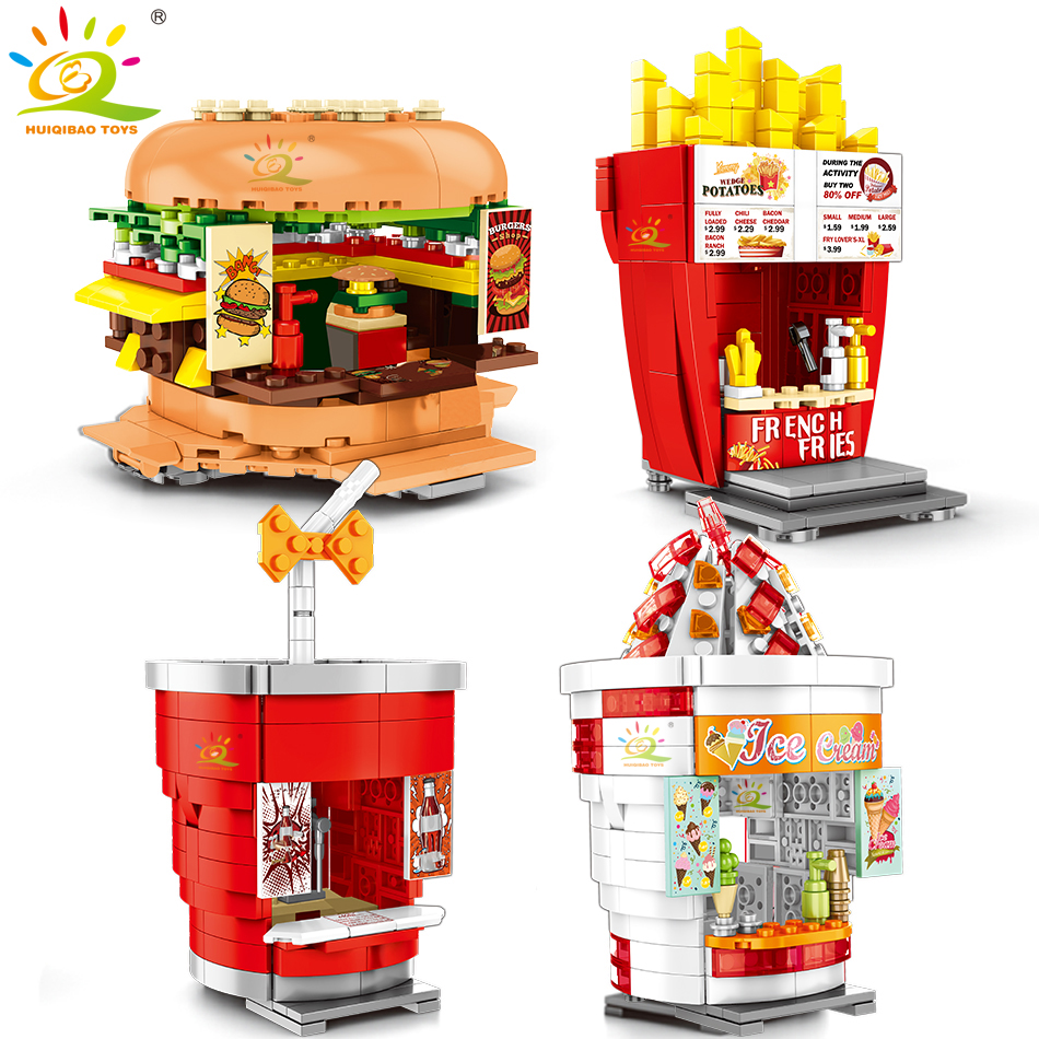 Hamburger Ice Cream Food Store Model Building Blocks Legoingly Architecture City Street View Educational Children Toys For Kids