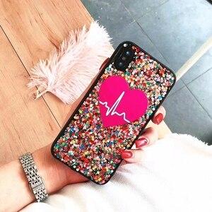 Image 5 - Iphone 11 Pro 7 8 artı XR XS MAX Samsung S20 Ultra S8 S9 S10 not 20 10 benzersiz kalp özel adı lazer Glitter telefon kılıfı