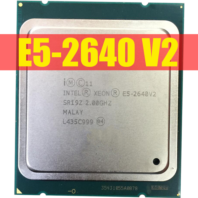 Intel Xeon E5 2640 V2 CPU E5 2640V2 sekiz çekirdekli CPU LGA2011 sunucu işlemci E5 2640V2 E5 2640 V2 CPU 100% normal çalışma